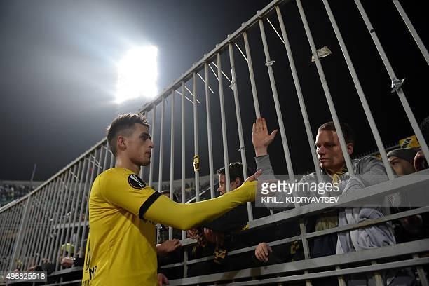 Dortmund's Belgian midfielder Adnan Januzaj greets fans after the UEFA Europa League group C football match between FC Krasnodar and Borussia...