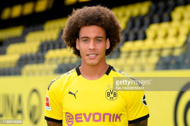 Dortmund's Belgian midfielder Axel Witsel poses for a photo during the presentation of Borussia Dortmund's squad for the upcoming first Bundesliga...