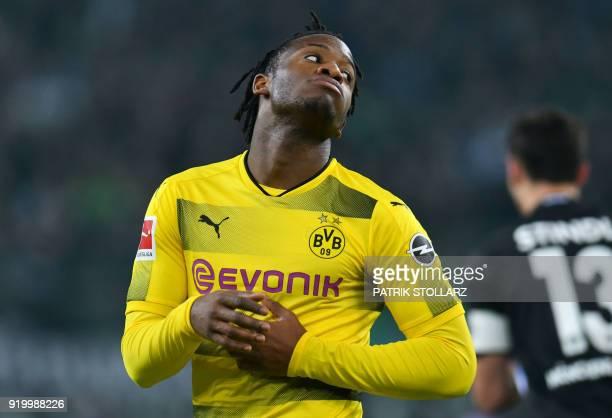 Dortmund's Belgian striker Michy Batshuayi reacts during the German first division Bundesliga football match Borussia Moenchengladbach vs BVB...