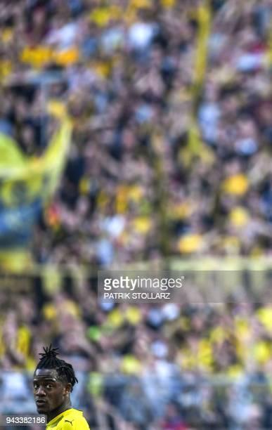 Dortmund's Belgian striker Michy Batshuayi reacts during the German first division Bundesliga football match Borussia Dortmund vs VfB Stuttgart in...