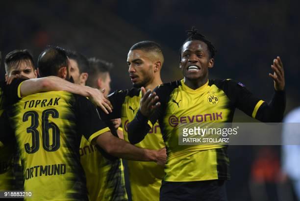 Dortmund's Belgian striker Michy Batshuayi reacts during the UEFA Europa League round of 32 first leg football match of Germany's Borussia Dortmund...