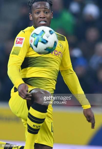 Dortmund's Belgian striker Michy Batshuayi vies for the ball during the German first division Bundesliga football match Borussia Moenchengladbach vs...