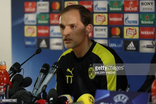 Dortmund's coach Thomas Tuchel gives a press conference on the eve of the UEFA Champions League football match Monaco against Dortmund on April 18...