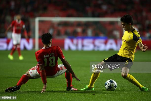 Dortmund's defender Bartra vies with Benfica's Argentinian midfielder Eduardo Salvio during the Champions League football match between SL Benfica...