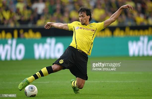 Dortmund's defender Mats Hummels plays the ball during the German first division Bundesliga football match Borussia Dortmund vs Eintracht...