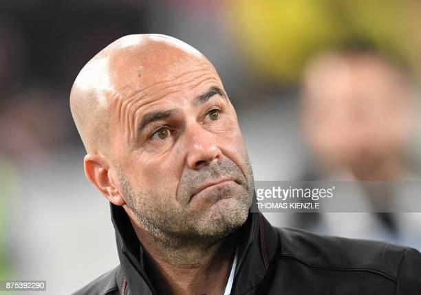Dortmund's Dutch head coach Peter Bosz arrives for the German first division Bundesliga football match VfB Stuttgart vs BVB Borussia Dortmund in...