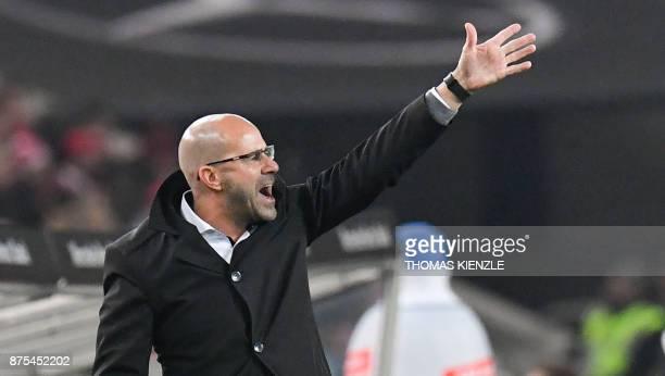 Dortmund's Dutch head coach Peter Bosz reacts during the German first division Bundesliga football match VfB Stuttgart vs BVB Borussia Dortmund in...