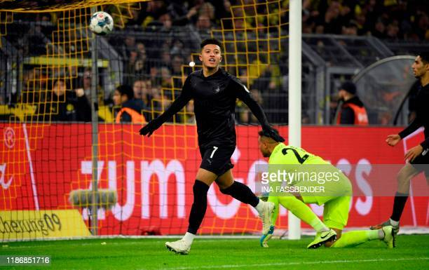 Dortmund's English forward Jadon Sancho celebrates a goal during the German first division Bundesliga football match Borussia Dortmund v Fortuna...