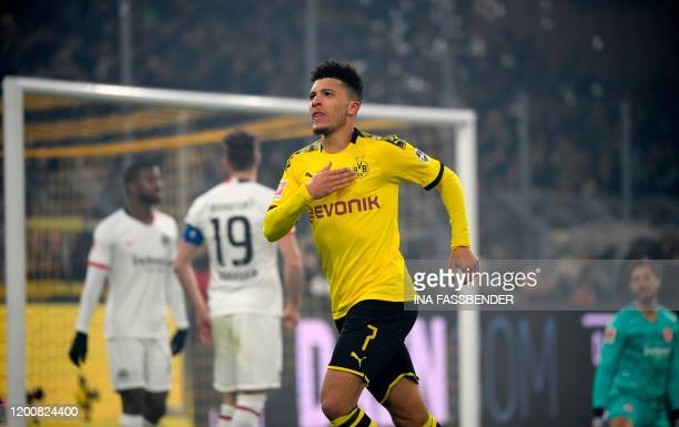 Dortmund's English midfielder Jadon Sancho celebrate scoring during the German first division Bundesliga football match BVB Borussia Dortmund vs...