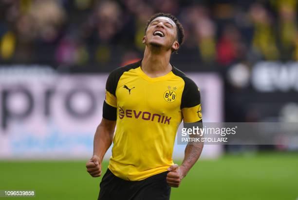 Dortmund's English midfielder Jadon Sancho celebrates after scoring during the German first division Bundesliga football match Borussia Dortmund v...