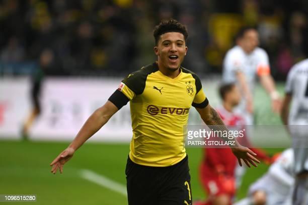 Dortmund's English midfielder Jadon Sancho celebrates before his goal was disallowed during the German first division Bundesliga football match...