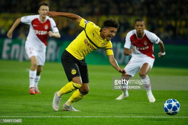 Dortmund's English midfielder Jadon Sancho chases the ball during the UEFA Champions League Group A football match BVB Borussia Dortmund v AS Monaco...