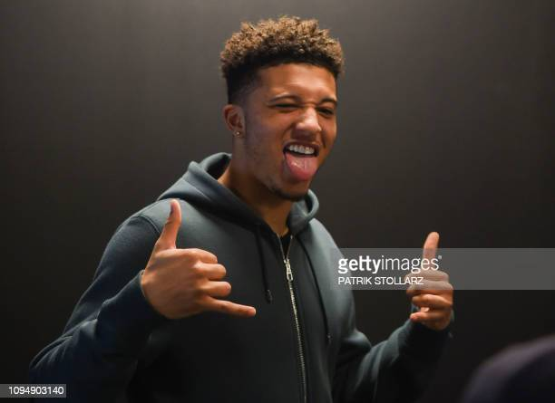 Dortmund's English midfielder Jadon Sancho poses during a Media Day at the German first division Bundesliga football club Borussia Dortmund in...