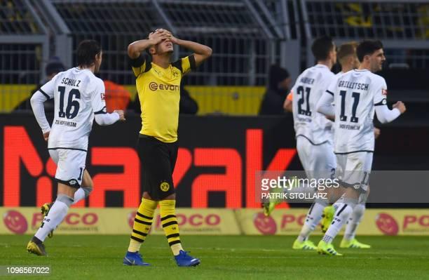 Dortmund's English midfielder Jadon Sancho reacts during the German first division Bundesliga football match Borussia Dortmund vs TSG Hoffenheim in...