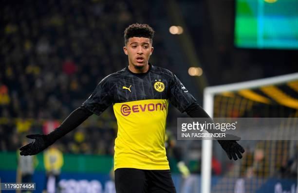 Dortmund's English midfielder Jadon Sancho reacts during the German Cup second round football match BVB Borussia Dortmund v Borussia Moenchenglanbach...