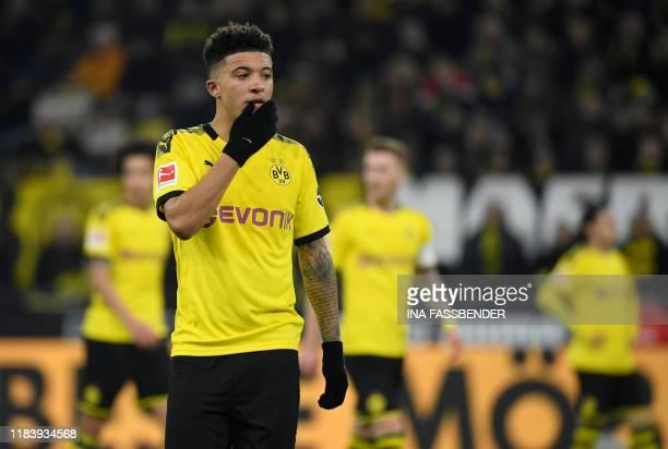 Dortmund's English midfielder Jadon Sancho reacts during the German first division Bundesliga football match Borussia Dortmund v SC Paderborn in...