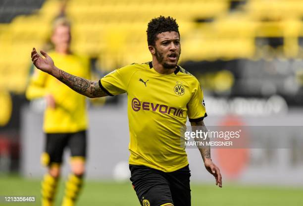 Dortmund's English midfielder Jadon Sancho vies for the ball during the German first division Bundesliga football match BVB Borussia Dortmund v...