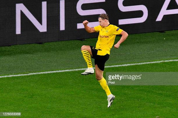 Dortmund's Erling Haaland celebrates after scoring his side's second goal during the UEFA Champions League Group F stage match between Borussia...