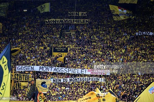 Dortmund´s fans protest against monday night games prior to the German first division Bundesliga football match Borussia Dortmund vs Borussia...