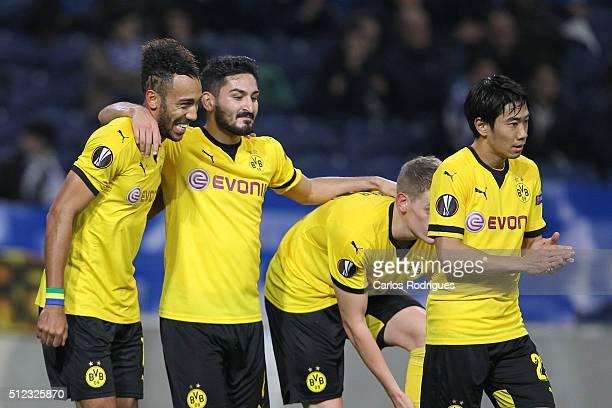 Dortmund's forward Aubameyang celebrate scoring Dortmund goal with Dortmund's midfielder Shinji Kagawa and Dortmund's midfielder Ilkay Gundogan...