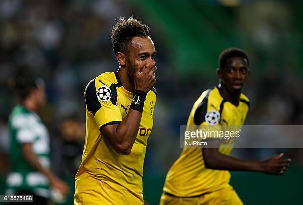 Dortmund's forward Aubameyang celebrates his goal during Champions League 2016/17 match between Sporting CP vs BVB Borrusia Dortmund in Lisbon on...