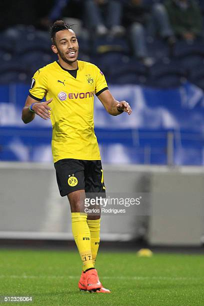 Dortmund's forward Aubameyang celebrates scoring Dortmund goal during the Champions League match between FC Porto and Borussia Dortmund for UEFA...