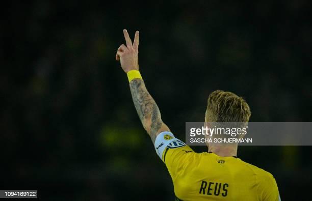 Dortmund's forward Marco Reus celebrate scoring the 1-1 equalizer during the German Cup last 16 football match BVB Borussia Dortmund v Werder Bremen...