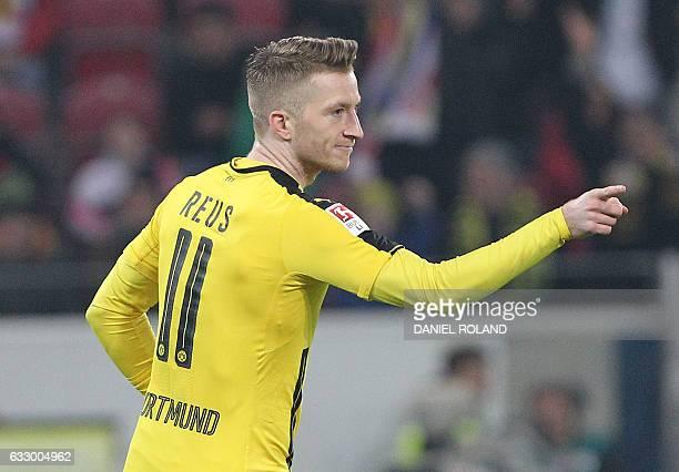Dortmund's forward Marco Reus celebrates scoring the 10 during the German first division Bundesliga football match between FSV Mainz 05 and Borussia...
