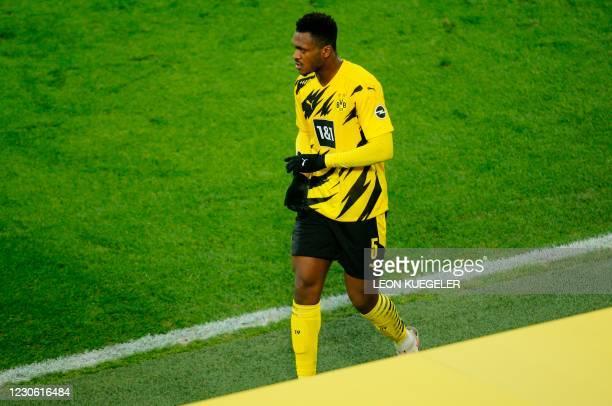 Dortmund's French defender Dan-Axel Zagadou leaves the pitch during the German first division Bundesliga football match between BVB Borussia Dortmund...