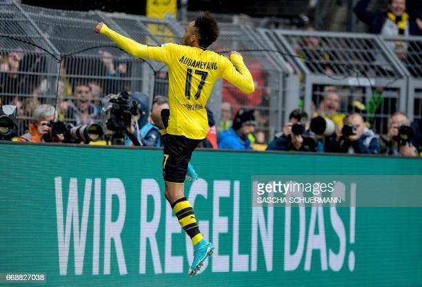 Dortmund's Gabonese forward PierreEmerick Aubameyang celebrates scoring the 31 during the German First division Bundesliga football match between...