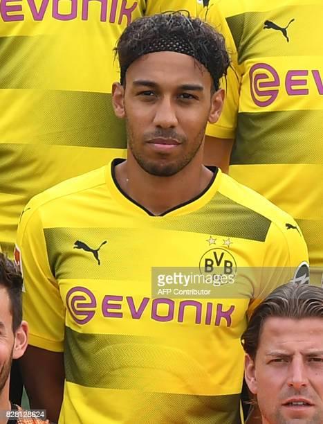 Dortmund's Gabonese forward PierreEmerick Aubameyang poses during the team presentation of of German first division Bundesliga football club Borussia...