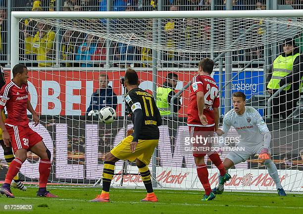 Dortmund's Gabonese forward PierreEmerick Aubameyang scores during the German first division Bundesliga football match between FC Ingolstadt 04 and...