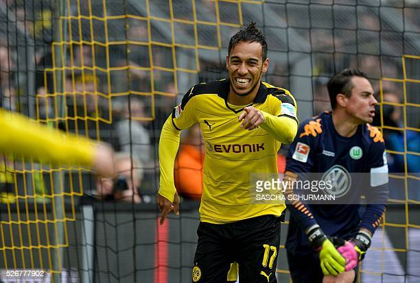 Dortmund's Gabonese striker PierreEmerick Aubameyang celebrates scoring the 40 goal during the German first division Bundesliga football match...