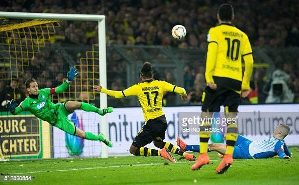 Dortmund's Gabonese striker PierreEmerick Aubameyang scores a goal during the first division Bundesliga football match Borussia Dortmund vs TSG...