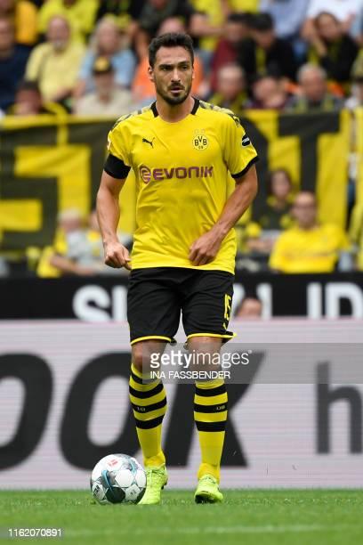 Dortmund's German defender Mats Hummels plays the ball during the German first division Bundesliga football match BVB Borussia Dortmund v Augsburg in...