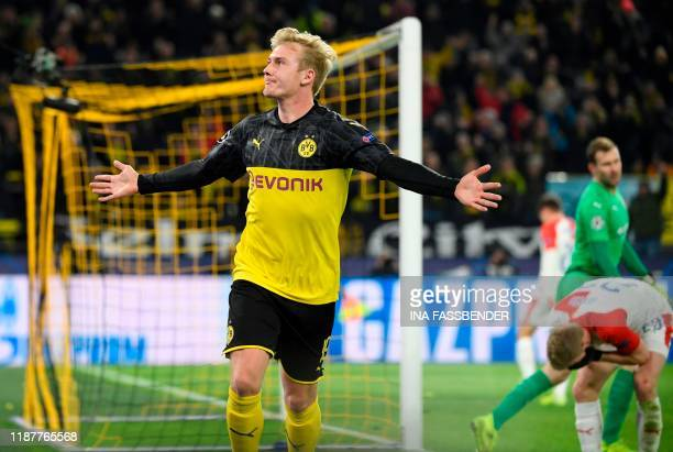 Dortmund's German forward Julian Brandt celebrates scoring during the UEFA Champions League Group F football match between Borussia Dortmund and SK...