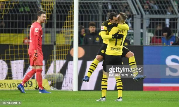 Dortmund's German forward Marco Reus and Dortmund's Spanish forward Paco Alcacer celebrate during the German first division Bundesliga football match...