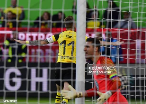 Dortmund's German forward Marco Reus reacts during the German First division Bundesliga football match between VfL Wolfsburg and Borussia Dortmund in...