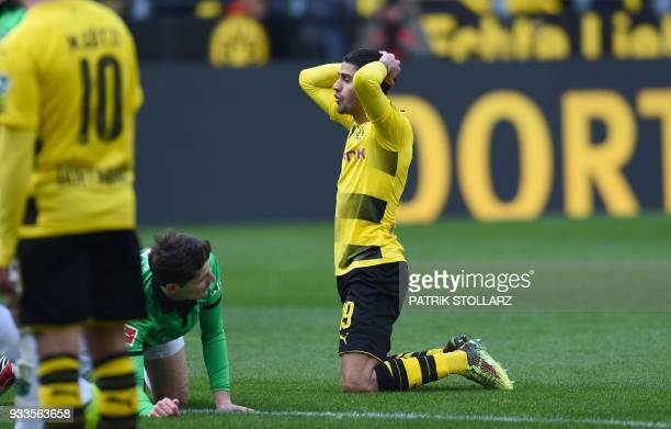 Dortmund's German midfielder Mahmoud Dahoud reacts during the German first division Bundesliga football match Borussia Dortmund vs Hanover 96 in...