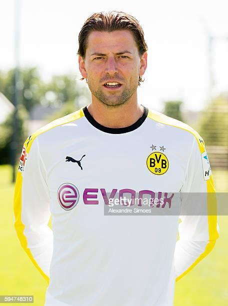 Dortmund's goalkeeper Roman Weidenfeller poses during the team presentation of Borussia Dortmund on August 17 2016 in Dortmund Germany