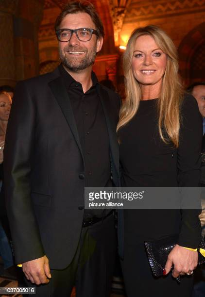 Dortmund's head coach Juergen Klopp and his wife Ulla during the club's after party at Natural History Museum in London England 26 May 2013 Borussia...