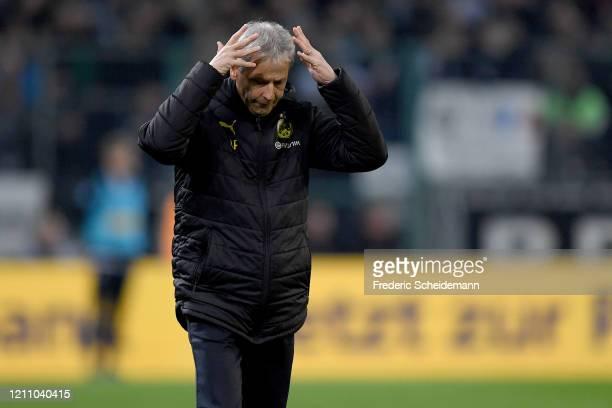 Dortmund's head coach Lucien Favre reacts during the Bundesliga match between Borussia Moenchengladbach and Borussia Dortmund at BorussiaPark on...