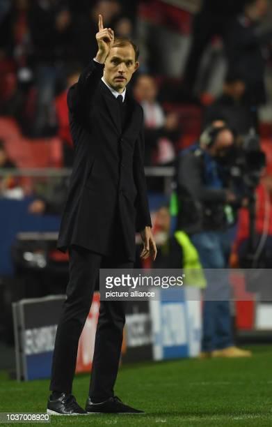 Dortmund's headcoach Thomas Tuchel gestures during the Champions League round of sixteen soccer match between Benfica Lissabon and Borussia Dortmund...