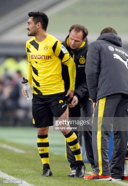 Dortmund's Ilkay Gundogan gets a massage during the soccer test game between Fortuna Duesseldorf and Borussia Dortmund at the ESPRITArena in...