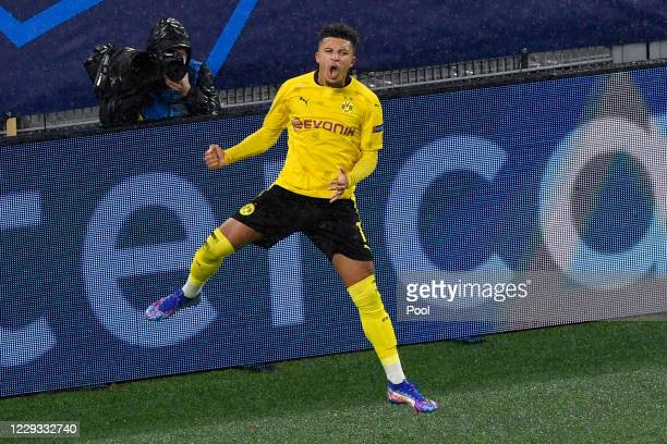 Dortmund's Jadon Sancho celebrates after scoring his side's opening goal during the UEFA Champions League Group F stage match between Borussia...