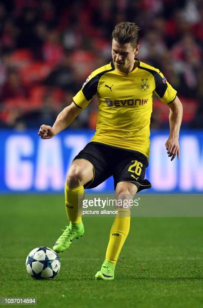 Dortmund's Lukasz Piszczek on the ball during the first leg of the Champions League quarter final knockout match between the Portuguese champions...