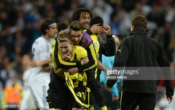 Dortmund's Marco Reus celebrates after the UEFA Champions League semi final second leg soccer match between Borussia Dortmund and Real Madrid at...