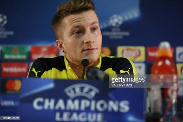 Dortmund's Marco Reus gives a press conference on the eve of the UEFA Champions League football match Monaco against Dortmund on April 18 2017 at the...