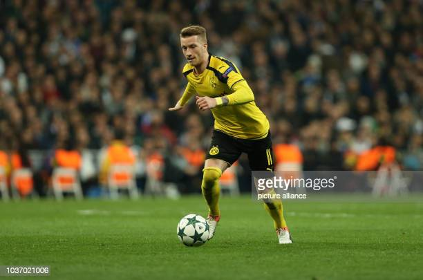 Dortmund's Marco Reus in action during the Champions League football match between Real Madrid and Borussia Dortmund at the Santiago Bernabeu stadium...