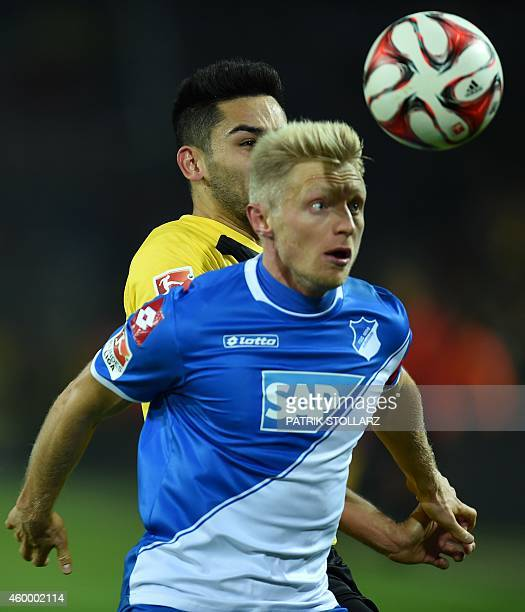 Dortmund's midfielder Ilkay Guendogan and Hoffenheim's defender Andreas Beck during the German first division Bundesliga football match Borussia...